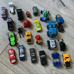 Toy cars, truck and other vehicles lot set